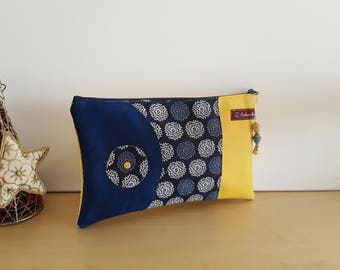 Yellow faux leather clutch bag, suede fabric and blue blue print, clutch bag, Bohemian clutch, gift idea