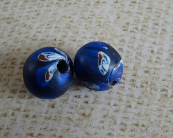 2 round blue glass paste with inserts beads style millefiori handcrafted 17mm