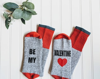 Valentines day gift for him, be my valentine, valentines day card, if you can socks, bring me beer socks.