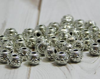 42pcs - 4x7mm - Bali Beads - Large Hole Beads - Metal Beads - Metal Spacers - Antique Silver - Silver Beads - Silver Spacer Beads - (3805)