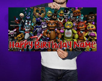 Five Nights at Freddy's Personalized/Customized Birthday Banner