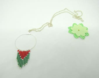 Gypsy collection: round, red and green seed beads, silver chain necklace - free earrings