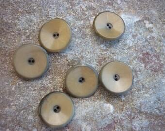set of 6 cute buttons in corozo flare shape, diameter 1.4 cm nice beige khaki material