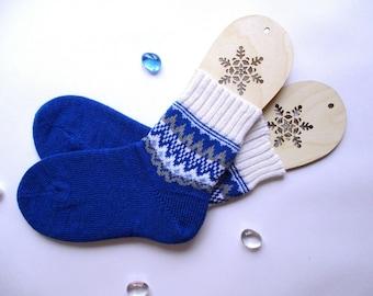 Blue white bright colours men socks New year Christmas Scandinavian pattern rustic autumn winter knit wool socks present giftknitting socks