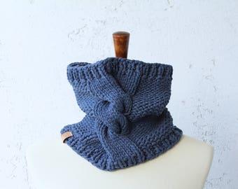 knit cowl cotton blue cowl unisex cowl denim scarf knit cotton cowl black owned business knit cotton snood knit cotton blend scarf