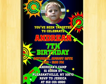Laser Tag Game Party, Laser Tag Birthday Invitations, Laser Tag Invitation, Laser Tag Birthday Party, Laser Tag Boy Birthday Party,Laser Tag