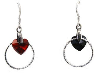 """Earrings """"Crystal of love over/under ring heart twisted"""" asymmetrical"""