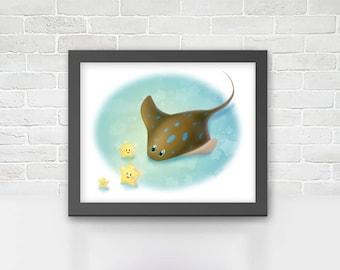 Wall art print - Stingray and stars - Art print - Gift for kids (MOAC08)