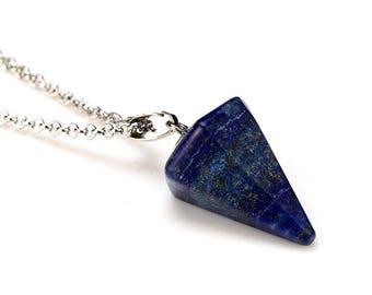 Lapis Lazuli on silver plated chain - natural stone - Cone pendant 20mm
