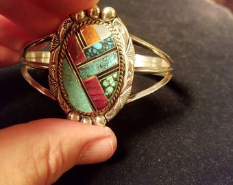 Turquoise Inlaid Vintage Sterling Silver Cuff Bracelet Native American Navajo New Mexico V&N Edsitty