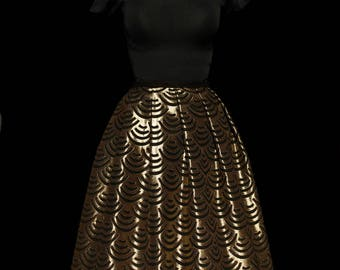 Gold large pleated midi skirt