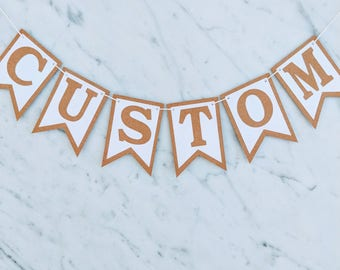 Kraft & White Custom Personalised Rustic Vintage Bunting Birthday Wedding Engagement Baby Shower Baptism Hens Farewell Party Banner Garland