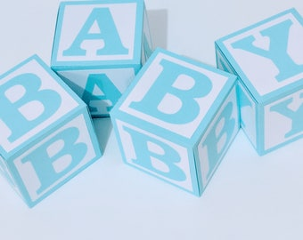 Blue BABY Blocks for Baby Shower Decoration - Table Centrepiece - Nursery Room Decor