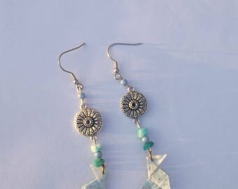 Dangling earrings with silver hooks, round charms, beads, stone chips and blue Japanese paper origami cranes