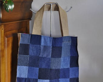 Tote bag patchwork denim, Burlap, and fuchsia polyester lining
