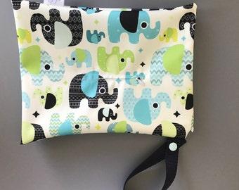 Cloth wipes wet bag (elephants)