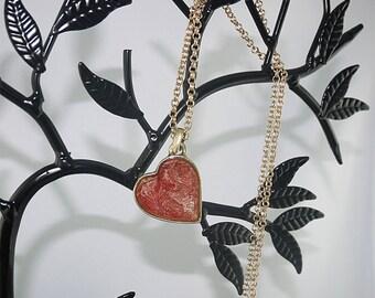 Red antique brass heart PENDANT