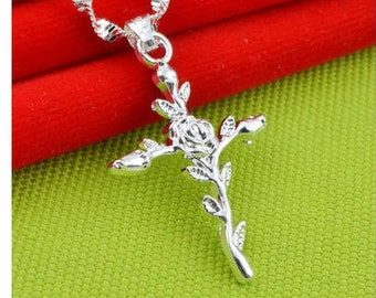 chain and man woman 2 florals mourning funerere cross pendant Silver 925/1000