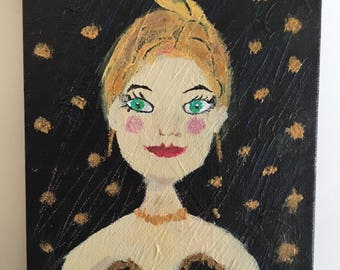 OOAK Mini Canvas Original Painting Party Girl Gift Bachelorette