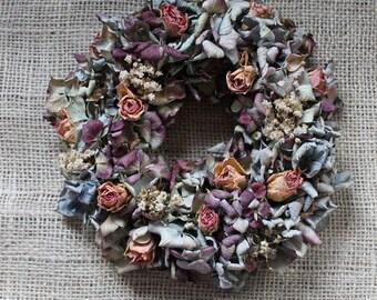 Beautiful decoration: colorful hydrangea wreath