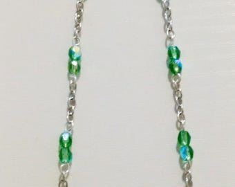 Green necklace in silver and Crystal beads - women necklace - Bohemian Necklace Bead - chain - OOAK necklace