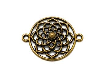 Connector round style filigree bronze