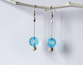 Earrings swarovski and Pearl rings in silver