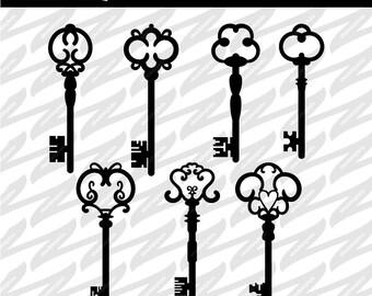 Old Style Key Cutouts - SVG, DXF, PNG, Digital Download, Cut file, Scrapbooking, Stencil, Cutout, Shape