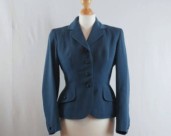 Vintage 1930/40s Tailored Fitted Wool Blue Grey Peplum Jacket