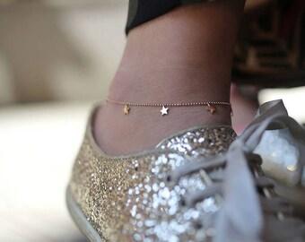 14k Gold Stars Anklet / Hand-made Gold Stars Anklet / Gold Anklet Available in 14k Gold, White Gold or Rose Gold