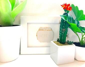 White and gold clay honey pot handmade 3D framed sculpture