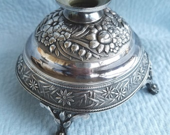 MERIDEN  19th Century Quadriplate Silver Candle Warmer/Holder, Mid 1800's