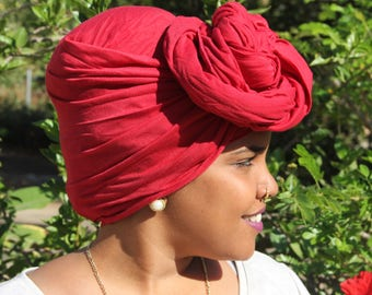 Red Wide African Head Wrap For Women Red wide head wrap African Head Scarves African Head Wrap  Long African Headwrap Stretchy Headscarf
