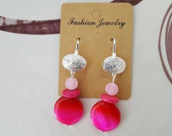 hook earrings silver, mother of Pearl, howlite and agate shell pink