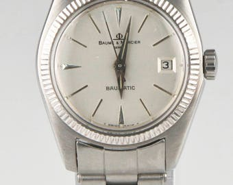 Vtg Ladies Baume & Mercier Stainless Steel Baumatic Automatic Watch w/ Date 1215