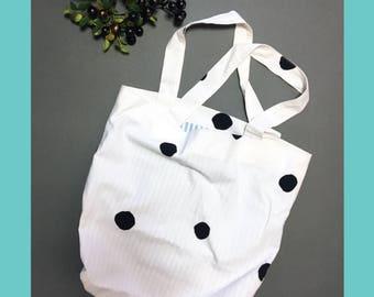 Tote bag, Fabric bag, Market bag, Shoulder bag, Cotton tote, Dot bag, Stripe bag, Summer Bag, Summer vacation