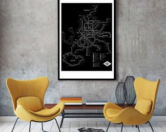 Madrid Subway Map Wall Art Decor