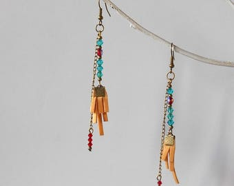 Beads and suede fringe hippie earrings