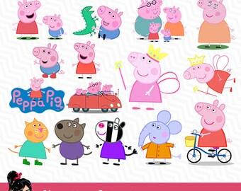 Peppa Pig, Peppa Pig design, Peppa Pig clipart, Printable Digital Files, background files, Scrapbooking, Birthday, VC-014