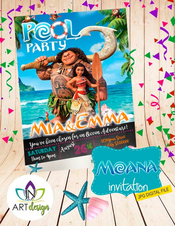 moana party invitation printable custom invitation tarjeta de