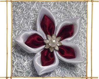 White and Burgundy satin flower