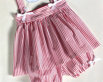 Summer dress red and white stripes with bloomer