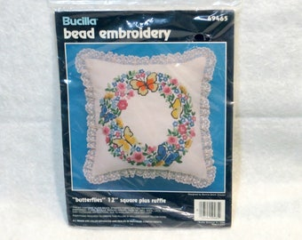 "Bucilla Bead Embroidery ""Butterflies"" Kit | 12 Inch Square Pillow | Yellow Blue Orange Butterflies | Wreath Flowers | Bucilla Kit #49465"