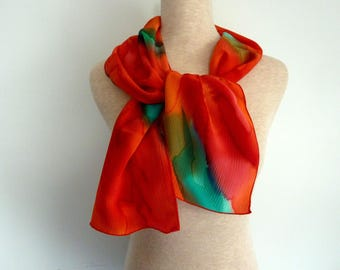 Red and green hand painted natural silk scarf