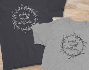 Tom Petty shirt, kids shirt, You Belong Among the Wildflowers, black tshirt, nature tshirt, kids graphic tee, nature shirt, Tom Petty lyrics