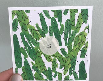 Handmade Square Cactus Print Initial Letter Card - All letters available