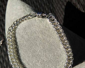 Silver plated bracelet mesh Perse 3/1 plate