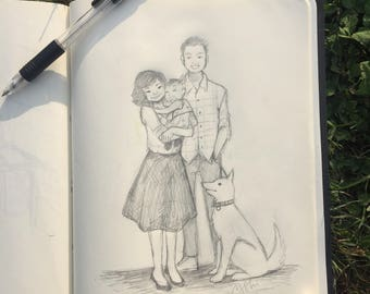 Custom Pencil Sketch Family Pet or Character Art, Birthday Gift, Wedding Gift, Anniversary Gift, Receive the Original