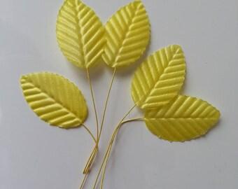 5 Feuilles artificielles 30 x 50mm jaune