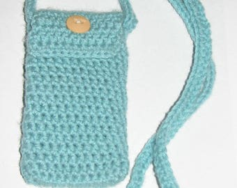 Handmade Blue Crochet Small Shoulder Bag with Long Straps and Pocket
